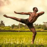 Black man in beautiful classical dance pose in field of grass