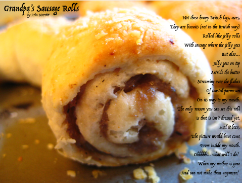 Photo of Sausage Roll with Poem overlay